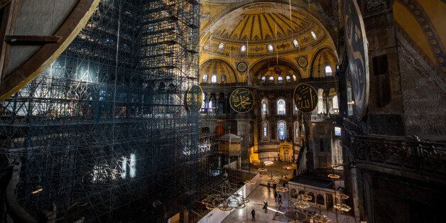 ISTANBUL, TURKEY - FEBRUARY 11: The interior of the Hagia Sophia Museum is seen on February 11, 2016...