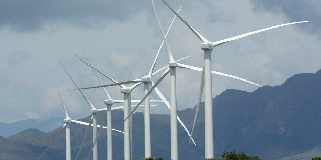 FILE- In this file photo dated Tuesday, Nov. 10, 2015, wind turbines in Penonome, Panama, as the Central...