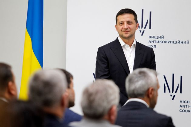 KIEV, UKRAINE - 2019/09/05: President Volodymyr Zelensky smiles during the launch of the High Anti-Corruption...