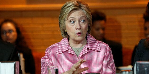 Democratic U.S. presidential candidate Hillary Clinton speaks during a meeting with community leaders...