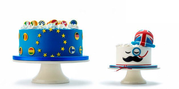 EU cake winner vs Great Britain cake isolated on