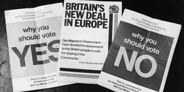 UNITED KINGDOM - MAY 01: Common Market Referendum Tracts In Great Britain On May 1975 (Photo by Keystone-France/Gamma-Keystone...