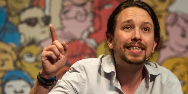 Leader of left wing party Podemos Pablo Iglesias speaks during 'The Congress on your Square' meeting...