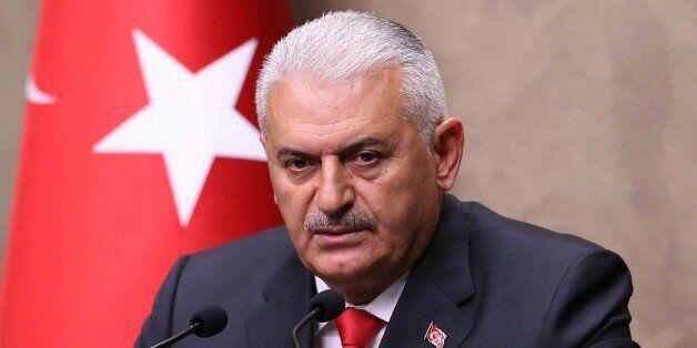 ANKARA, TURKEY - JUNE 3: Turkish Prime Minister Binali Yildirim attends a press conference before his...