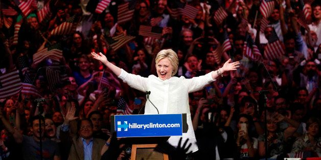Democratic presidential candidate Hillary Clinton speaks during a presidential primary election night...