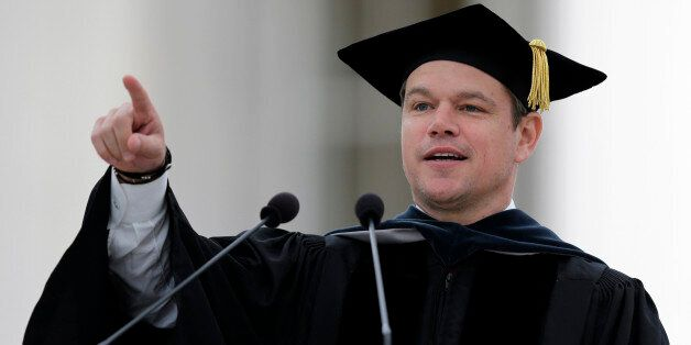 Actor Matt Damon gestures during his address at the Massachusetts Institute of Technology's commencement...