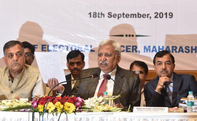 Chief Election Commissioner Sunil Arora (C) with election commissioner Ashok Lavasa (L) and Sushil...
