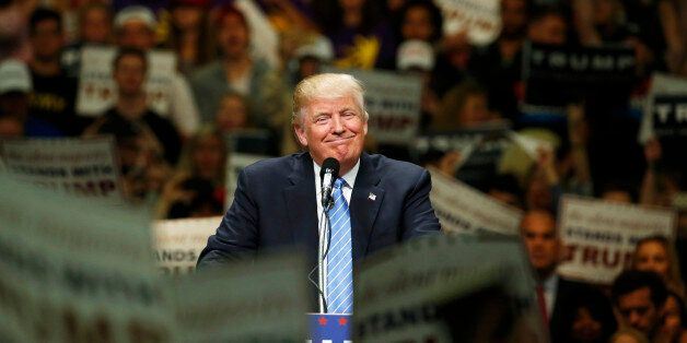Republican U.S. presidential candidate Donald Trump holds a rally with supporters in Anaheim, California,...