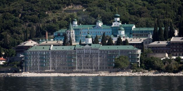A photo taken on May 28, 2016 shows the Russian St. Panteleimon Monastery, in Mount Athos on 28 May,...