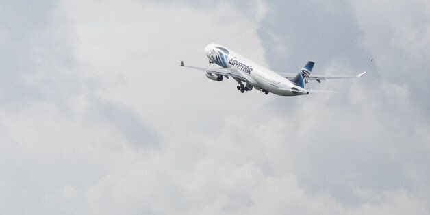An EgyptAir Airlines passenger jet takes off from Charles de Gaulle airport, operated by Aeroports de...