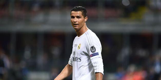Real Madrid's Portuguese forward Cristiano Ronaldo looks on during the UEFA Champions League final football...