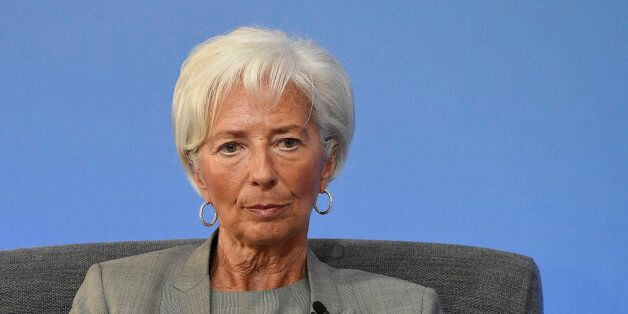 Head of the IMF Cristine Lagarde speaks during the Anti-Corruption Summit in Lancaster House in London,...