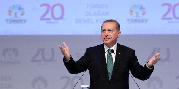 ISTANBUL, TURKEY - MAY 30 : Turkish President Recep Tayyip Erdogan speaks during the 20th anniversary...