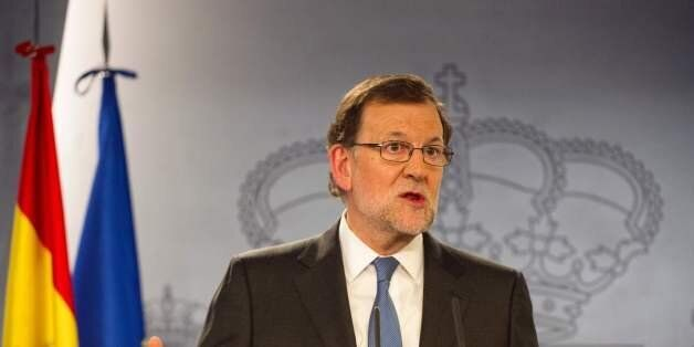 Spanish Prime minister Mariano Rajoy gives a press Conference after meeting with Spanish King, at La...