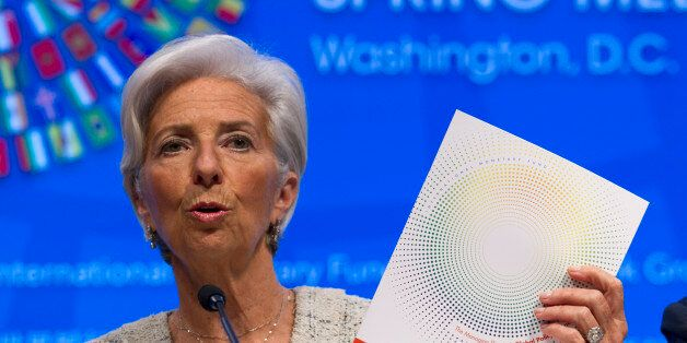 International Monetary Fund (IMF) Managing Director Christine Lagarde speaks at a news conference during...