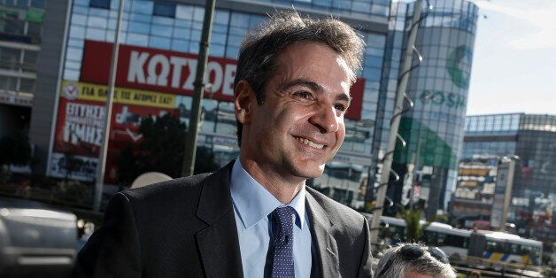 Newly elected leader of Greece's conservative New Democracy party Kyriakos Mitsotakis arrives at the...