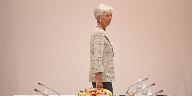 International Monetary Fund (IMF) boss Christine Lagarde takes part in a dialogue with world leaders...