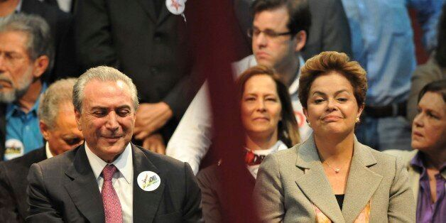 BELO HORIZONTE, BRAZIL - JUNE 30: Presidential candidate Dilma Roussef (R) and her vice Michel Temer...