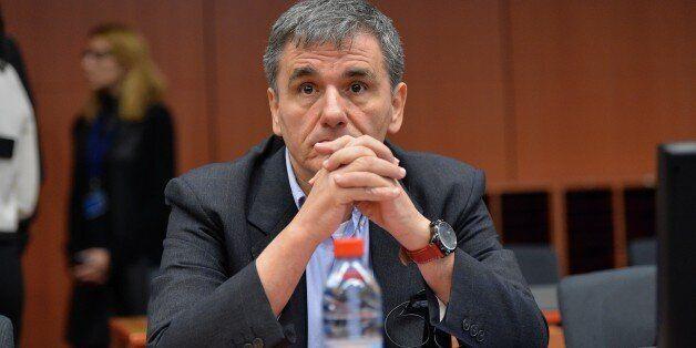 BRUSSELS, BELGIUM - JANUARY 14: Finance Minister of Greece Euclid Tsakalotos attends the meeting of eurozone...