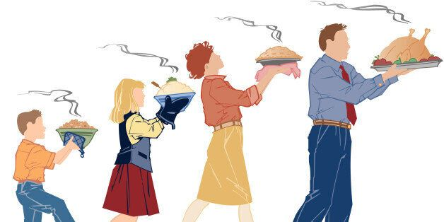 Family carrying various food dishes,