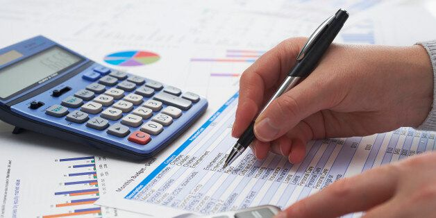 Home accounting and finance scenario.Female