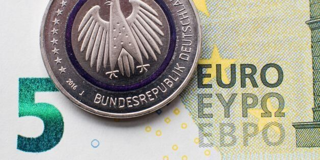 Illustration taken on April 14, 2016 in Hanover, central Germany, shows a five-euro collector coin titled...