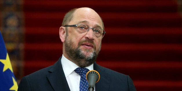 European Parliament President Martin Schulz speaks during a press conference with Iran's Parliament speaker...