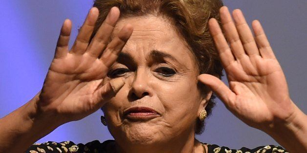 Brazilian President Dilma Rousseff gestures during the opening ceremony of the 4th National Policy Conference...