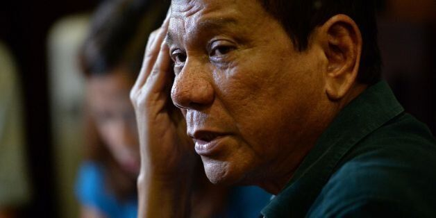 Philippines' President-elect Rodrigo Duterte, speaks to the media for the first time asince he claimed...