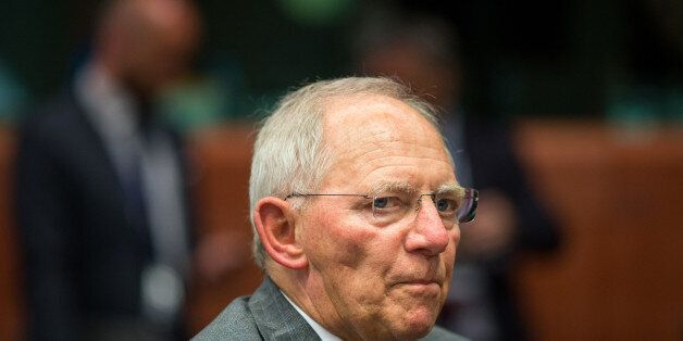 Wolfgang Schaeuble, Germany's finance minister, looks on during a meeting of European finance ministers...