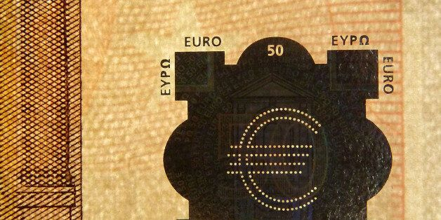 LONDON, ENGLAND - MARCH 04: A detail of a fifty Euro bank note, on March 4, 2016 in London, England....