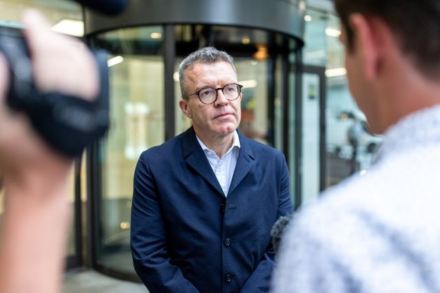 Tom Watson pictured leaving Labour HQ in