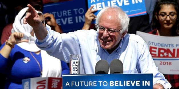 Democratic presidential candidate, Sen. Bernie Sanders, I-Vt., speaks at a campaign rally, Tuesday, May...