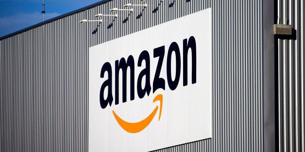 The Amazon logo is seen on the new logistics center of online merchant Amazon in Lauwin-Planque, northern...