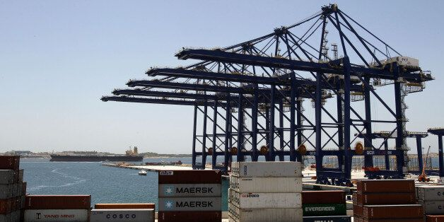 Newly installed container cranes are seen at the Piraeus Container Terminal, operated by Chinese state-owned...