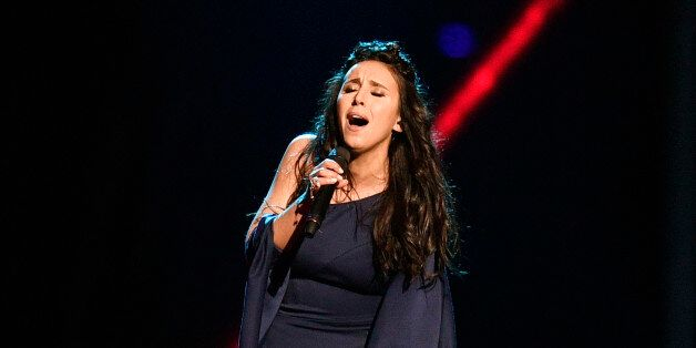 Ukraine's Jamala performs the song '1944' during a dress rehearsal for the second semifinal at the Eurovision...