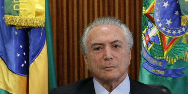 Brazil's acting President Michel Temer holds his first cabinet meeting , at the Planalto presidential...