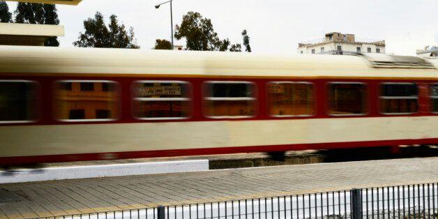 Train approaching larissa train station in