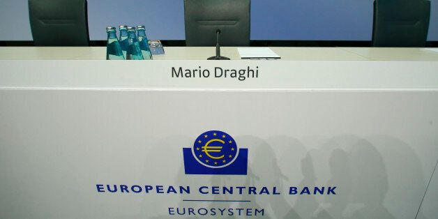 An empty seat of the European Central Bank President Mario Draghi is pictured ahead of the news conference...