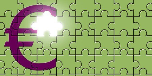 Euro sign on a puzzle with missing