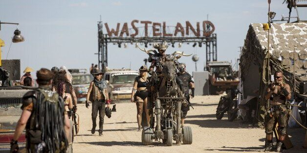 Enthusiast Byron Priore rides his metallic motorized horse during the Wasteland Weekend event in California...