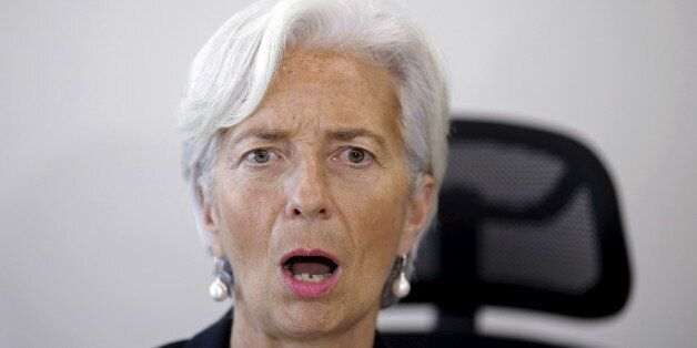 International Monetary Fund (IMF) Managing Director Christine Lagarde reacts during a meeting with Brazil's...