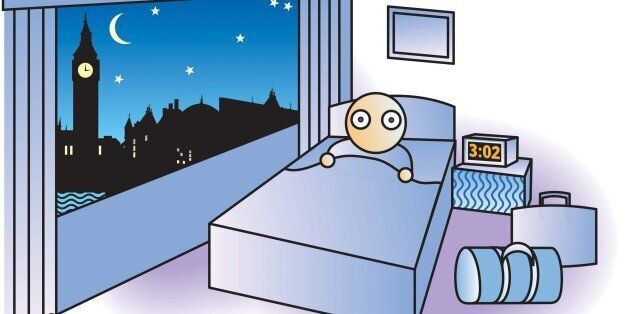 USA - 2005: 3 col x 4.25 in / 146x108 mm / 497x367 pixels Noah Musser color illustration of sleepless...