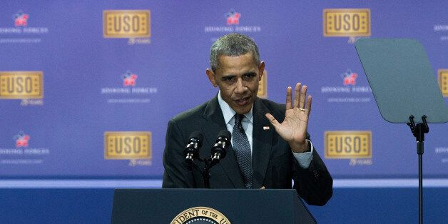 JOINT BASE ANDREWS, MD - MAY 5: President Barack Obama speaks during a comedy show organized by United...