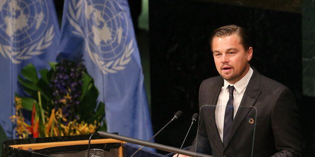 NEW YORK, NY - APRIL 22: Actor/activist Leonardo DiCaprio speaks during the Paris Agreement For Climate...