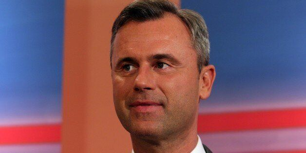 Norbert Hofer, candidate of Austria's Freedom Party, FPOE, smiles during the release of the first election...