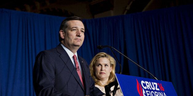 Senator Ted Cruz, a Republican from Texas and 2016 presidential candidate, pauses while speaking as his...
