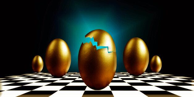 (AUSTRALIA & NEW ZEALAND OUT) Golden eggs on a chess board (Photo by Fairfax Media via Getty