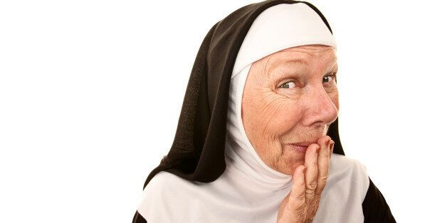 Funny Nun with Happy Shocked on her Face Stifling a