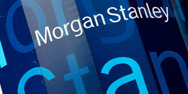 The corporate logo of financial firm Morgan Stanley is pictured on the company's world headquarters in...